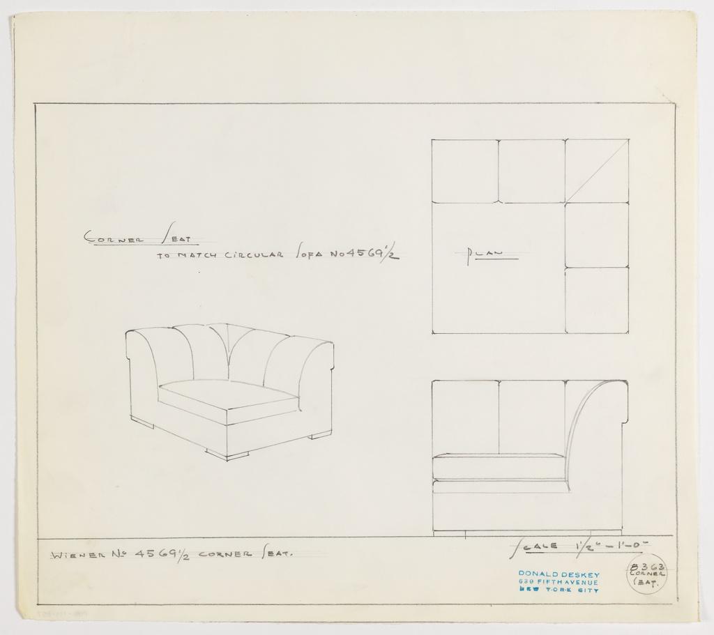 Drawing, Corner Seat