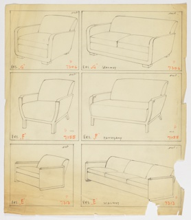 Drawing, Armchair, Three Versions, 1930–1935