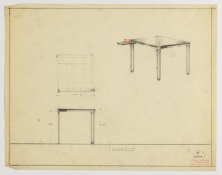 Drawing, Table with Sliding Tray