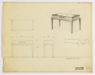 Perspective drawing for rectangular table in upper right, plan and elevation in lower left. Top of table is rectangular, drawer below has long, horizontal drawer pull. Base of table with curved edges and straight legs. Two options given for materials on the drawing: black lacquer top, legs, and frame with walnut body; red lacquer base with white sycamore body and top.