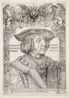 Portrait of Holy Roman Emperor Maximilian I with an ornamental border by Hans Weiditz.