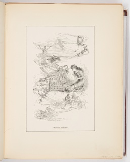 """This frontispiece shows a girl kneeling in front of a book titled """"The Wonder Book"""" with miniature mythological scenes all around, seemingly emerging from the pages of the book."""
