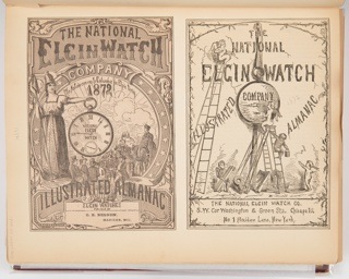 On the left, the cover illustration for the 1872 Elgin Watch Almanac. On the left, a woman holding a liberty pole in her right hand holds a large pocket watch in her left hand. Below the watch are several male figures. On the right, the title page illustration. Cherubs with ladders paint the face of a large pocket watch.