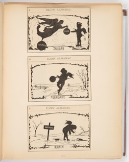 """Three calendar illustrations for Elgin Watch Almanac. The scenes in the illustrations are in the style of silhouettes. The top illustration, January, shows an angel handing a pocket watch to a angel child. The middle illustration, February, shows the angel child skating while holding the pocket watch. The bottom illustration, March, shows the angel child dripping with water having fallen through the ice and gotten out. A sign beside the broken ice reads """"Dangerous."""""""