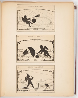 Three calendar illustrations for Elgin Watch Almanac. The scenes in the illustrations are in the style of silhouettes. The top illustration shows a putti in a rainstorm holding a blown inside out umbrella and pocket watch. The middle illustration shows the putti holding the pocket watch on the right while a butterfly holds its umbrella on the left. The bottom illustration shows the putti fishing.