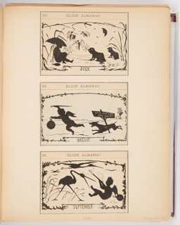 Three calendar illustrations for Elgin Watch Almanac. The scenes in the illustrations are in the style of silhouettes. The top illustration, for July, shows a putti on the left under an umbrella facing singing frogs and bugs playing tiny instruments. The middle illustration, for August, shows a putti running from a dog. The bottom illustration, September, shows a putti holding a rifle and being attacked by a stork.