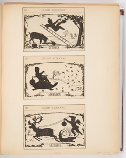 Three calendar illustrations for Elgin Watch Almanac. The scenes in the illustrations are in the style of silhouettes. The top illustration, for October, shows a putti falling backwards with a ladder from a tree. Behind him on the ground is a pig eating fallen fruit. The middle illustration, for November, shows a putti riding a turtle. The bottom illustration, for December, shows a putti riding a sleigh holding the reins of a reindeer.