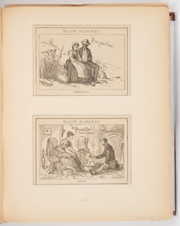 Two calendar illustrations for Elgin Watch Almanac. The top illustration, for February, shows a man and woman sitting next to each other, the man's arm around the woman. Cupid appears behind the couple, having just shot the arrow that is stuck into the woman's back. The bottom illustration, for April, shows a man and woman on either side of a bathing baby.