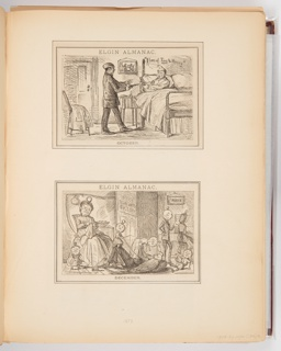 Three calendar illustrations for Elgin Watch Almanac. October illustration shows a robber robbing a man in bed at gunpoint. December illustration shows various figures with pocket watches for heads. November illustration shows various scenes of different Times with Father Time at the center. Below on the left, an illustration of two putti holding a pocket watch. On the right, an illustration of two men talking in front of a clock.