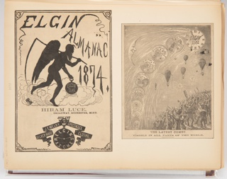 Two illustrations for Elgin Watch Almanac. On the left, the title page illustration shows the silouette of Father Time carrying a scythe and holding a pocket watch. On the right, a pocket watch in various states of completion curves across the sky with a sliver moon with a face on the left and hot air balloons on the right. On the ground, onlookers stare up at the pocket watches.