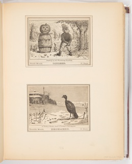 Calendar illustrations for Elgin Watch Almanac. The October illustration shows a pumpkin perched on a barrell while a boy stands looking at it with a knife behind his back. The December illustration shows a turkey looking at hunters from across a field. The November illustration shows two crows looking down at an animal skull.