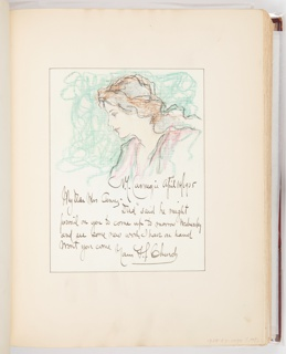 Drawing with bust of woman in profile at top; letter below.