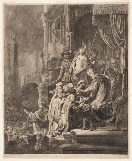 Christ stands in the background, near right, flanked by soldiers. Pilate is in the foreground, wearing elaborate robes and an oriental turban. Five men press closely toward him, speaking and gesturing. Crowds below and in distance, left.