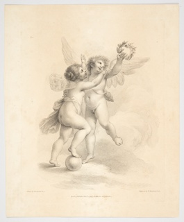 The two playing in the clouds. Cupid has one arm about Psyche, the quiver slung on his back, and is teasing her by holding a weath aloft. With one foot on a globe, she attempts to reach it.
