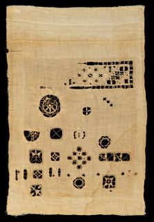 Unfinished sampler in the manner of sixteenth and early seventeenth century Italian cutwork.
