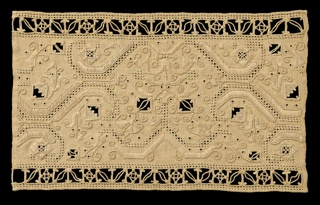 Sampler worked in designs typical of the Italian Renaissance.