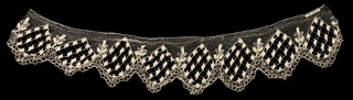 White lace border with a pointed, scallop edge showing a geometric design of small squares of heavy silk arranged in diamond-shaped areas.