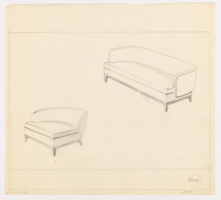 Drawing, Sofa, End Chair, ca. 1934