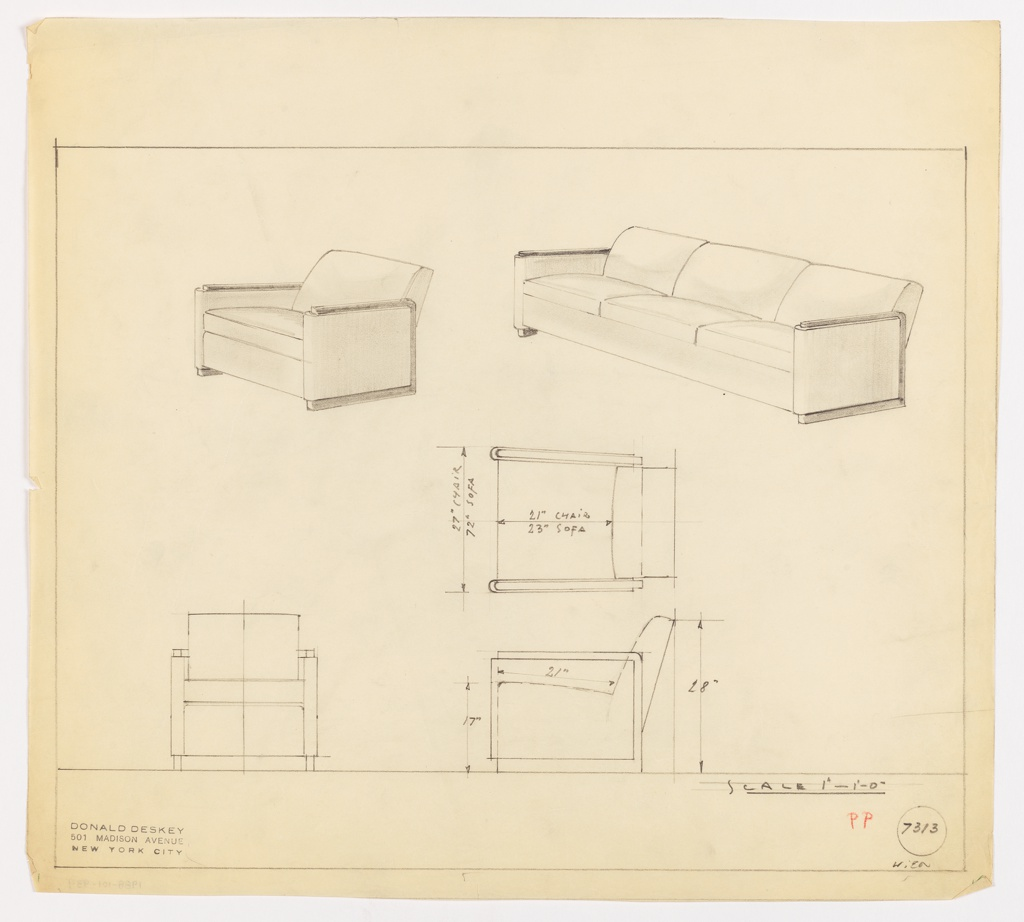 Drawing, Sofa and Chair