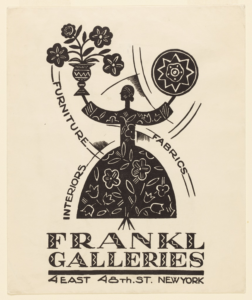 """Silhouetted abstract female figure viewed in profile wearing black flowered dress. She holds up a vase of flowers in her right hand and a pin-wheel in left.  The words """"FURNITURE,"""" """"FABRICS,"""" and """"INTERIORS"""" printed on curving, intersecting lines that follow the curving contours of her body."""