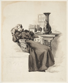 Drawing, Girl in a Wicker Chair
