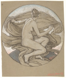 Recto: Female figure seated turned toward the right. Drapery swirls in the background, with the rays of sunlight rising beyond it.  Verso: Nude torso of a young female figure, with arms raised above her head.