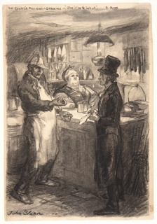 A male figure in a frock coat and top hat stands at right. He is being questioned by a male figure wearing a white apron at left. A female figure wearing a kerchief stands behind a counter. The setting is a small dry-goods or grocery store.
