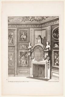 """Print, Corner Chimneypiece, published in """"Nouvelles Chiminees Faitte en Plusier en Droits de la Hollande et  Autres Provinces du Dessin de D. Marot"""""""