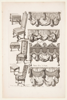 Designs for upholstered furniture. Pictured are three different types of chairs with footstools and four different designs for window dressings. There are labels throughout the work.