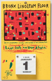 Calendar, Happy Days are Here Again: Bronx Linoleum Floor (Wall Calendar for 1989)