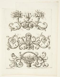 """Three friezes; top: with two cornucopias; center: with a woman's head; bottom: with a flower basket. With """"Fait par du Cerceau"""" and Langlois's address, """"rue St. Jacques a la Victoire"""""""