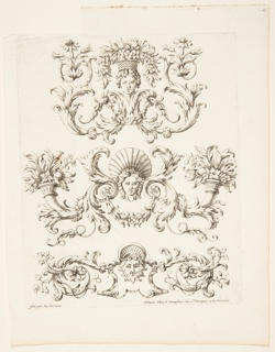 """Three friezes; top: with a head supporitng a flower basket; center: with a woman's mask; bottom: wiht a foliated mask. With """"Fait par du Cerceau"""" and Langlois's address, """"rue St. Jacques a la Victoire"""""""