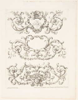 """Three freizes; top: with a plant in an escutcheon; center: with an escutcheon in heart shape; bottom: with a female mask in an escutcheon. With du Cerceau's name and the address, """" rue St. Jacques a la Victoire."""""""
