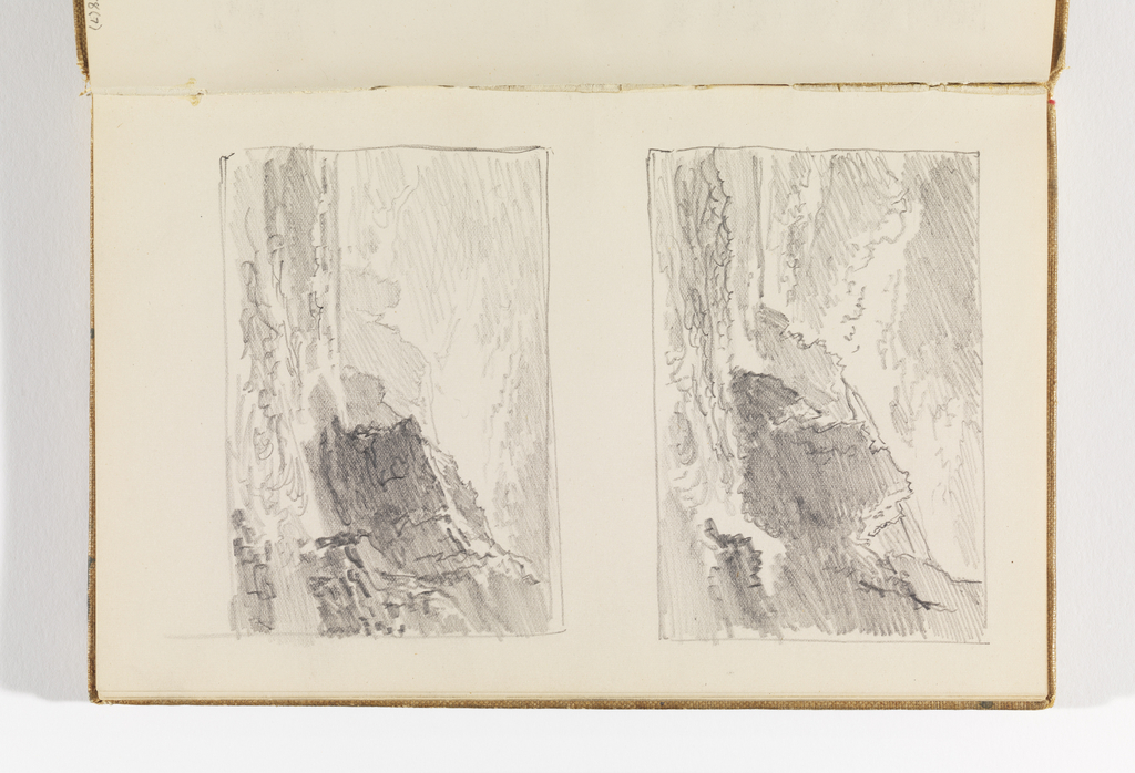 Sketchbook Folio, Two Small Studies of Choppy Sea and Cliffs