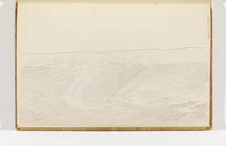 Recto: choppy sea flat across horizon, light sky, unfinished foreground; Verso: rough sketch, impressions of light in sky above sea.