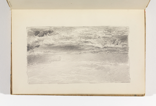 Sketchbook Folio, Study of Waves on Rocks with Cliffs