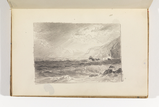 Sketchbook Folio, Dramatic Study of Ocean, Cliff, and Light-filled Sky