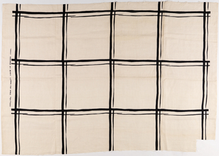 Length of printed linen with black squares loosely rendered using thick and thin lines on a white ground.