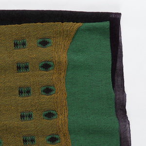 Four different fabric layers distinguished by green, black, and yellow colors and connected by repeat rectangular pattern with tree-like form inside.
