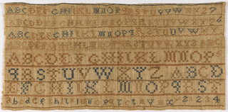 Many bands of alphabets and numerals, separated by narrow geometric borders, embroidered in blue and brown.