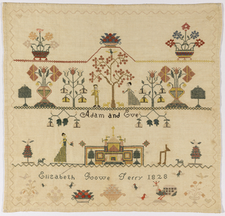 Scene showing a man and woman in formal dress, labeled as Adam and Eve, another lady and gentleman (unfinished), baskets of flowers and fruit, flowering trees, birds, and an inscription, arranged in four horizontal rows and enclosed in a simple zigzag border.