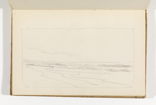 Unfinished sketch, contours of waves coming onto shore.