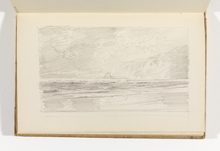 Rough sketch of ocean from the beach with waves coming up on shore with cliffs at right.