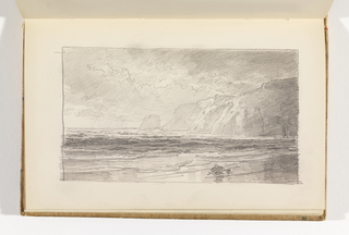 Sketchbook Folio, View of Ocean and Beach with Cliffs at Right