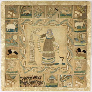 Square sampler with a center field depicting a woman holding a long garland of flowers, flanked by a pedestal on the left and a pitcher on the right. The scene is surrounded by a border of leaf shapes, and a deep framing device of 19 squares, each containing a motif, some of which are repeated. The motifs including floral sprays, birds, fruit, sheep, and sheaves of wheat, are arranged symmetrically on the top and sides. At the bottom, the verse and inscription:  Ann E. Kelly was  born in Halifax April 20 in  the year of our Lord 1814 and made this sampler in  Mrs. Leah Meguier's school in  Harrisburg, January 21 1828 Oh May the Lord Instill Good Principles in me and make me a good and faithful servant
