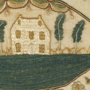 In the center, an oval framing device with a bunting at the top contains a scene of a house flanked by trees on a large lawn. The oval is surrounded by motifs symmetrically arranged: baskets of flowers, pairs of birds, flowering trees, and butterflies, with a strawberry vine border on four sides. Outside the border, additional sprays of flowers appear. The inscription appears below the scene, and at the very bottom the names Margereta Whann and George Terrell are embroidered.