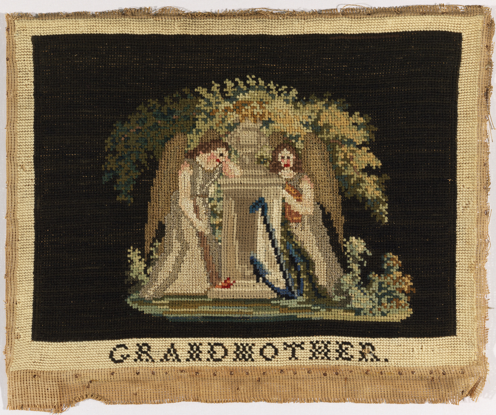 Two female angels draped over a tomb with an anchor at the bottom and a leafy tree behind.  Lettering at the bottom reads: GRANDMOTHER