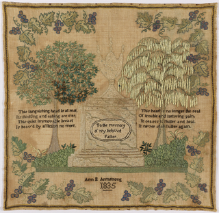 A large tomb surmounted by an urn in the center, with the inscription To the memory of my beloved Father. With a tree and a verse on each side, and surrounded by a grape vine border.  The verses read:   This languishing head is at rest Its thinking and aching are o'er This quiet immovable breast Is heav'd by affliction no more  This heart is no longer the seal Of trouble and torturing pain It ceases to flutter and beat It never shall flutter again