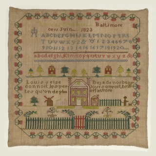 Square sampler of natural-colored linen embroidered with blue, green, yellow, red, and white silks. Within a strawberry vine border, an inscription, Louisa Nenninger Baltimore cess Juin 1823,  is followed by rows of alphabets, trees, houses and windmills, a large house with a fence, and two texts in French:  Louis Seize connoit les pertes qu'on deplore (Louis XVI knew deplorable losses)  Deja de nos beaux jours on voit briller l'aurore (Already we see the dawn of our beautiful days)