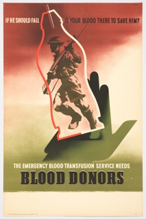 "Gradient background: red at top, white center, olive lower. An open palm cradles a blurred image of a soldier with a gun, inside the outline of a blood bag. At top: ""IF HE SHOULD FALL IS YOUR BLOOD THERE TO SAVE HIM?"" At bottom: ""THE EMERGENCT BLOOD TRANSFUSION SERVICE NEEDS / BLOOD DONORS"""